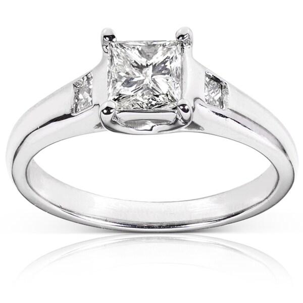 Annello Palladium 1ct TDW Certified Diamond Engagement Ring (J, SI2)