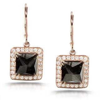 Annello 14k Gold 7 1/4ct TDW Certified Black and White Diamond Earrings (H-I, I2) with Bonus Item