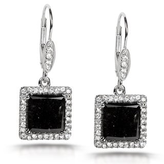 Annello 14k Gold 5 7/8ct TDW Certified Black and White Diamond Earrings (H-I, I2)