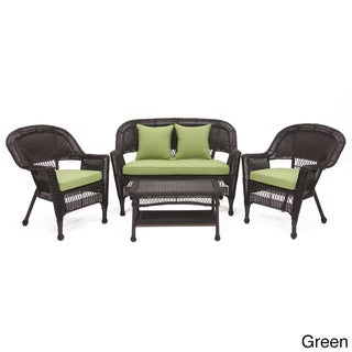 Espresso Wicker 4-piece Patio Conversation Set