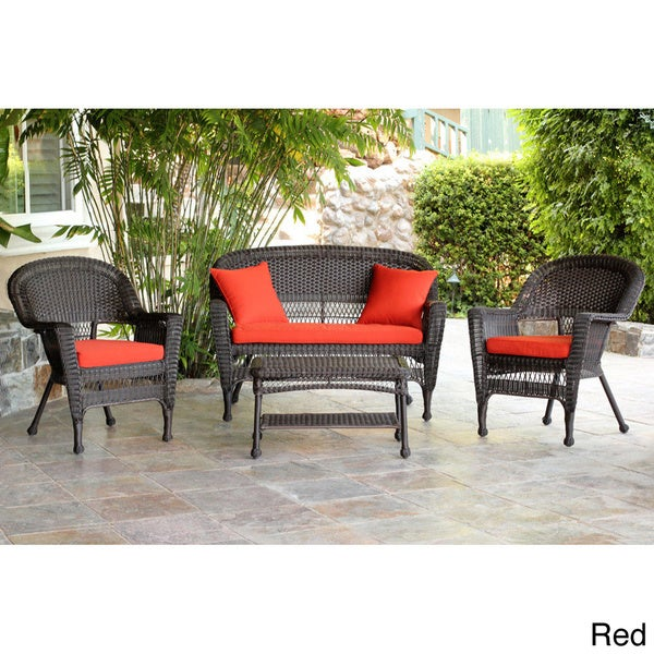 espresso wicker 4 piece patio conversation set 13999147