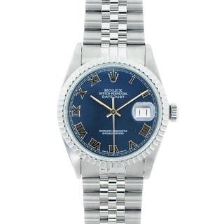 Pre-owned Rolex Men's Datejust Stainless Steel Blue Roman Dial Watch