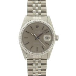 Pre-owned Rolex Men's Datejust Stainless Steel Grey Dial Watch