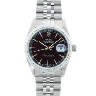 Pre-owned Rolex Men's Datejust Stainless Steel Black Dial Watch