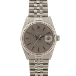 Pre-owned Rolex Men's Datejust Stainless Steel White Gold Grey Dial Watch