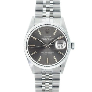 Pre-owned Rolex Men's Stainless Steel Datejust Watch Grey Dial 18k White Gold Bezel