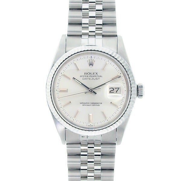 Pre-owned Rolex Men's Datejust Stainless Steel White Gold Silver Dial Watch