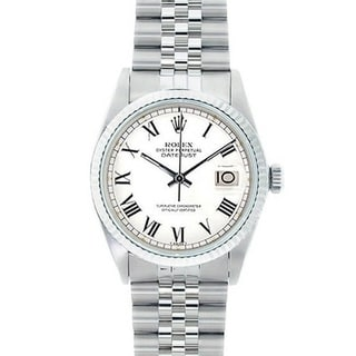 Pre-owned Rolex Men's Datejust Stainless Steel White Gold White Roman Dial Watch