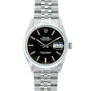 Pre-owned Rolex Men's Stainless Steel Datejust Watch Black Dial 18k White Gold Bezel