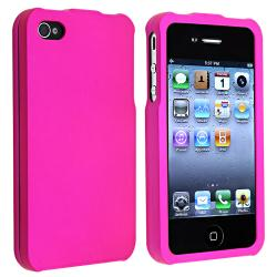 Hot Pink Snap-on Rubber Coated Case for Apple iPhone 4/ 4S