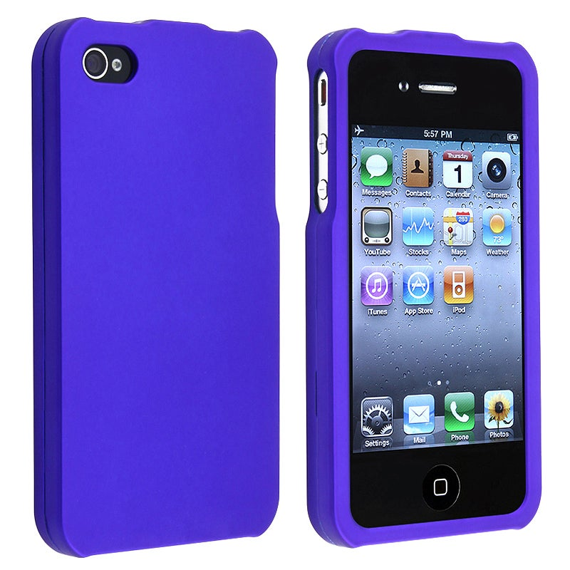 Dark Blue Snap-on Rubber Coated Case for APP iPhone 4/ 4S