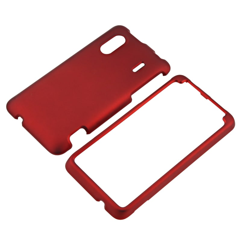 Red Snap-on Rubber Coated Case for HTC EVO Design 4G