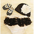 Black Polka Dot Print Baby Girls Gift Set