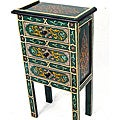 Handpainted Three Drawer Wooden Chest (Morocco)