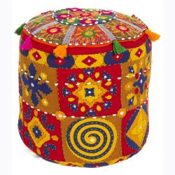 Traditional Mandara Indian Poufs (Set of 2)
