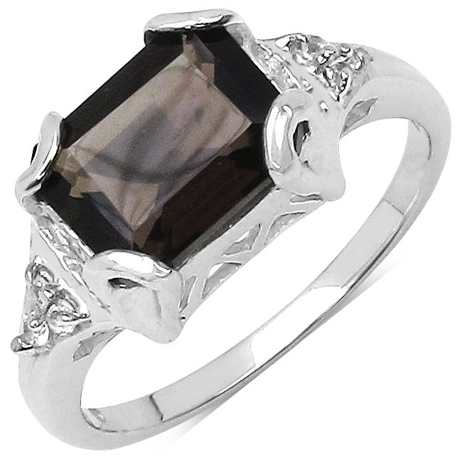 Malaika Sterling Silver Smoky Quartz and White Topaz Ring