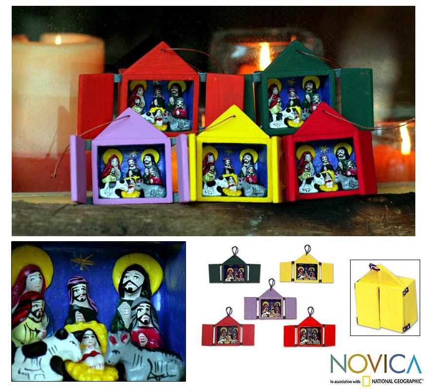 Set of 5 Ceramic 'Retablos' Ornaments (Peru)