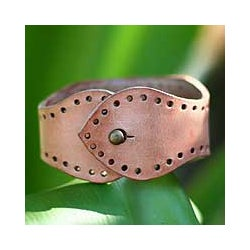 Handcrafted Leather 'Java Sand' Bracelet (Indonesia)