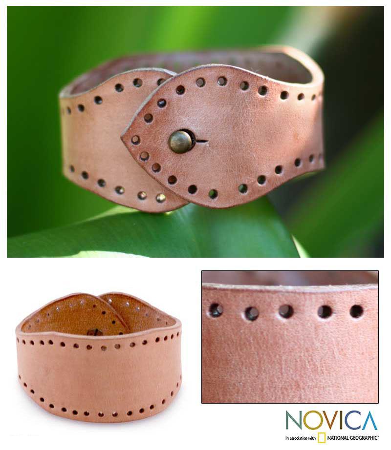 Handcrafted Leather 'Java Sand' Bracelet (Indonesia)