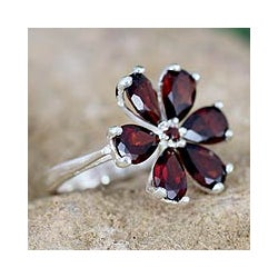 Sterling Silver 'Perfect Petals' Garnet Floral Ring (India)
