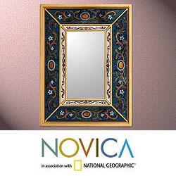 Handcrafted Reverse Painted Glass 'Sunflower Skies' Mirror (Peru)