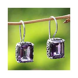 Sterling Silver 'Imagine' Amethyst Dangle Earrings (Indonesia)