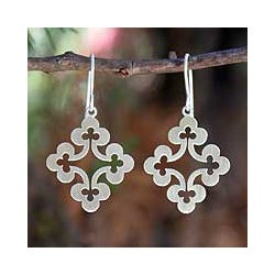 Sterling Silver Dangle Earrings 'Floral Cross' (Thailand)