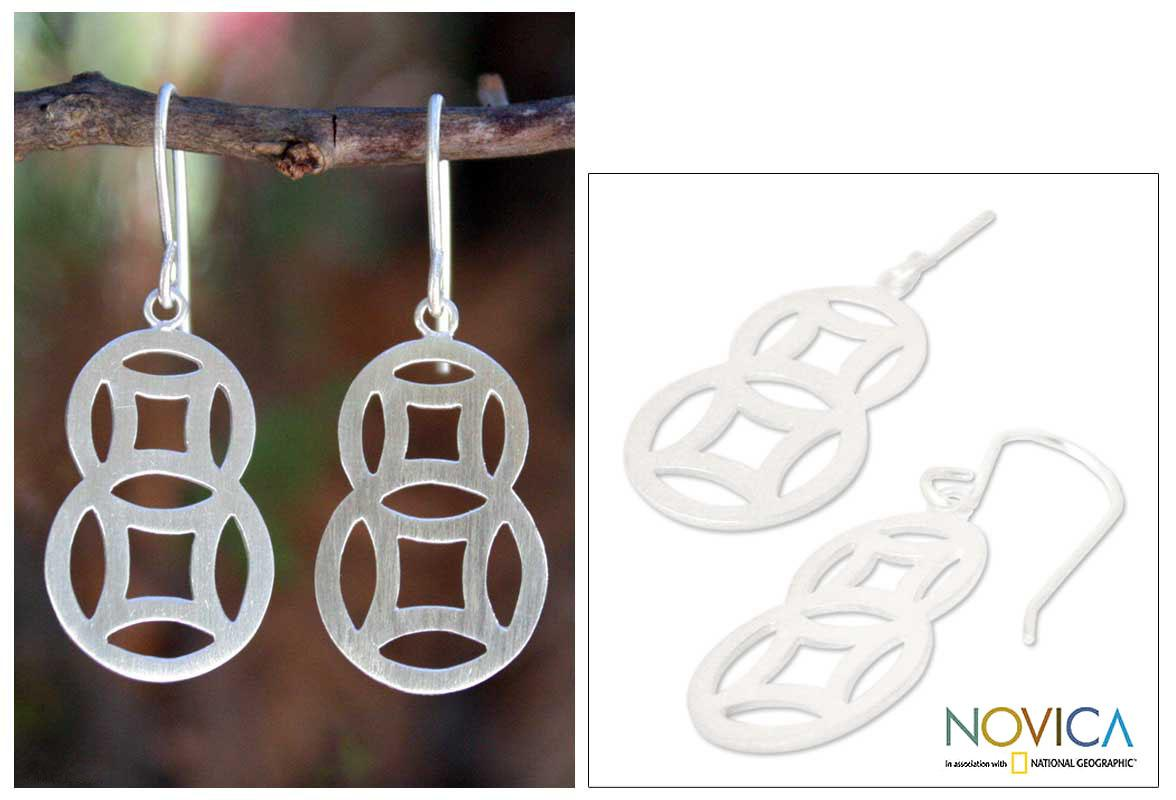 Sterling Silver 'Circle Family' Dangle Earrings (Thailand)
