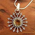 Sunshine Daze Faceted 2 Carat Yellow Citrine Sunburst 925 Sterling Silver with Snake Chain Womens Pendant Necklace (India)