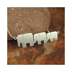Sterling Silver 'Elephant Pride' Necklace (Thailand)