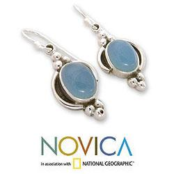 Sterling Silver 'Sky Charm' Chalcedony Dangle Earrings (India)