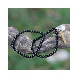 Set of 2 Sterling Silver 'Believe' Black Agate Bracelets (Indonesia)