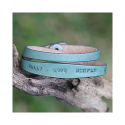 Handcrafted 'Live Fully in Green' Leather Bracelet (Indonesia)