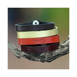 Leather 'Imagine Explore Create' Set of 4 Bracelets (Indonesia)