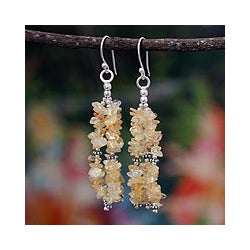 Sterling Silver 'Rejoice' Citrine Waterfall Earrings (India)