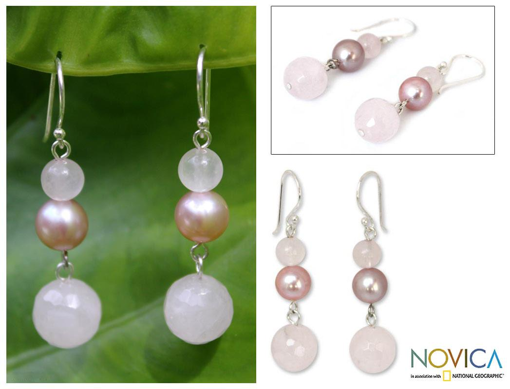 Sterling Silver 'Love's Promise' Pearl Earrings (7.5-8 mm) (Thailand)