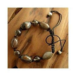 Sterling Silver 'Indian Tiger' Smoky Quartz Agate Bracelet (India)