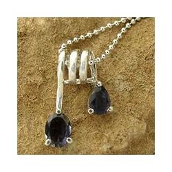 Sterling Silver 'Hypnotic Fantasy' Iolite Necklace (India)