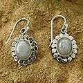 Sterling Silver 'Radiant Petals' Moonstone Flower Earrings (India)