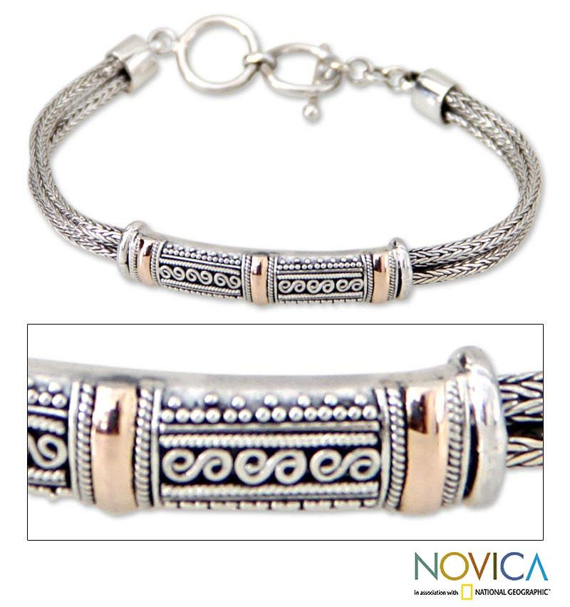 18 Karat Gold Accent Sterling Silver 'Wishes' Bracelet (Indonesia)