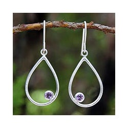 Sterling Silver 'Rain' Amethyst Dangle Earrings (Thailand)