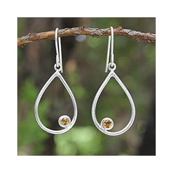 Sterling Silver 'Rain' Citrine Dangle Earrings (Thailand)