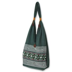 Cotton 'Lanna Forest' Medium Sling Bag (Thailand)