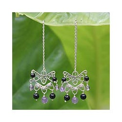 Sterling Silver 'Mystical Siam' Amethyst Onyx Earrings (Thailand)
