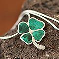 Silver 'Good Luck Clover' Chrysocolla Necklace (Peru)