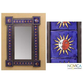 Handcrafted Tin and Ceramic 'Maya Eclipse' Wall Mirror (Mexico)