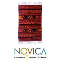 Mexican Zapotec 'Mexican Meteors' Wool Rug (2 x 3.4 inches)