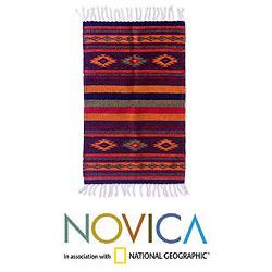 Zapotec 'Festival' Wool Rug (2 x 3.4 inches) (Mexico)