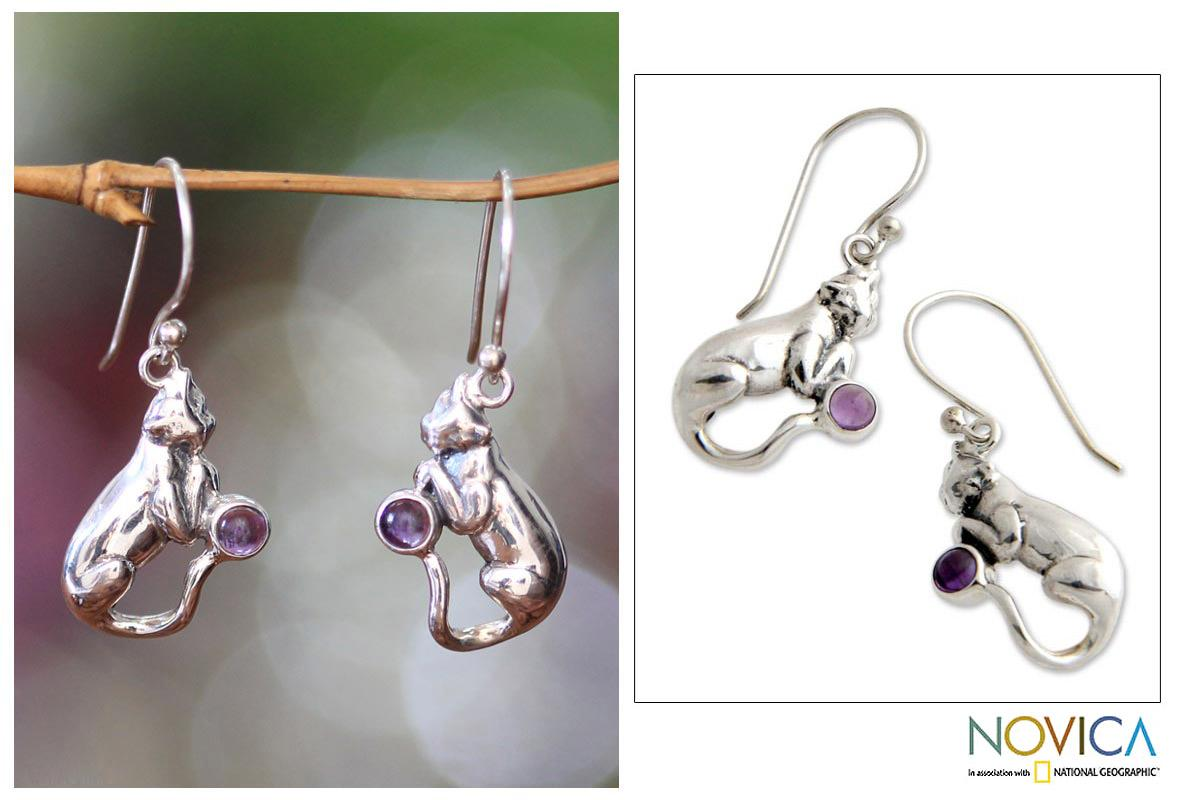 Sterling Silver 'Dreams of a Cat' Amethyst Earrings (Indonesia)