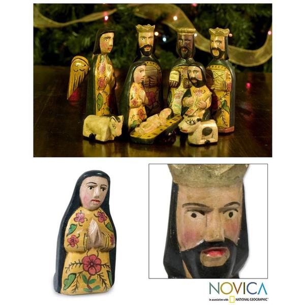 Set of 9 Pinewood 'Faithful' Nativity Scene (Guatemala)